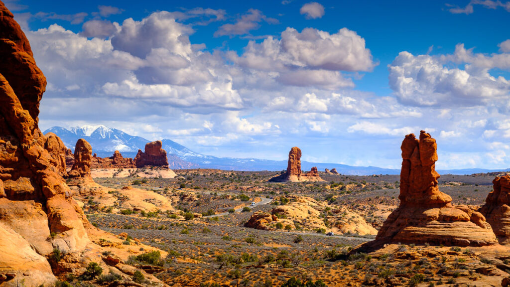 Road to the Windows  in Arches National Park, Moab, Utah USA