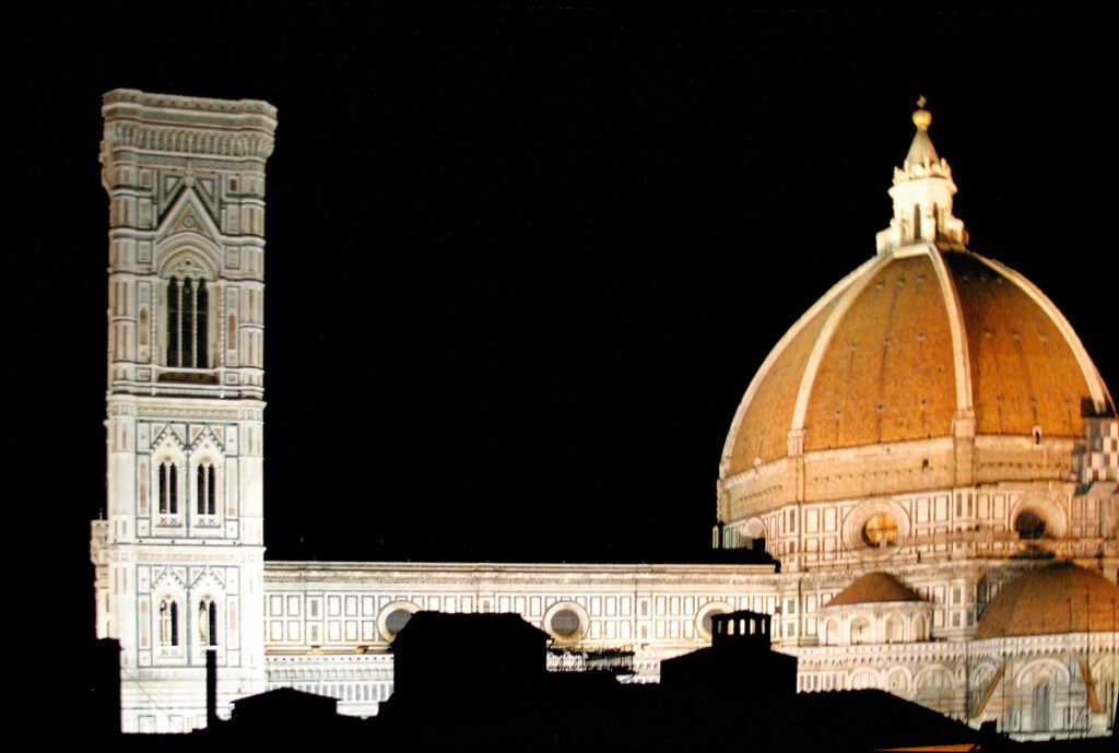 Florence cathedral by night.